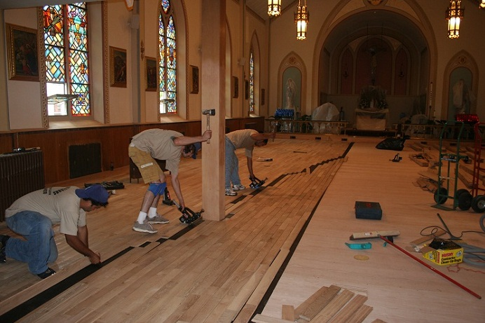 Church Hardwood Floors Installation Floor Installation3